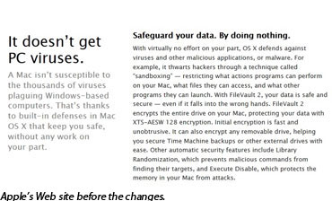 Windows Security comparisons on Apple's Web site